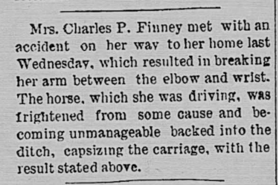 Mrs Charles P Finney accident