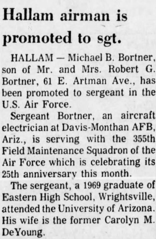 Michael B. Bortner promoted to sergeant Air Force