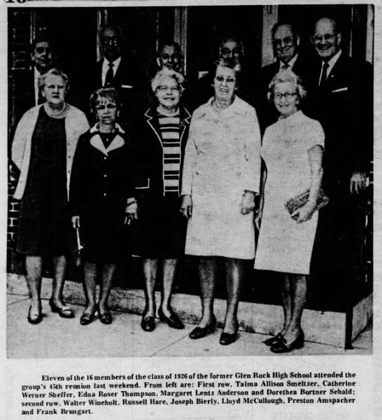 Dorothea (Bortner) Sebald 1926 Glen Rock High Class reunion