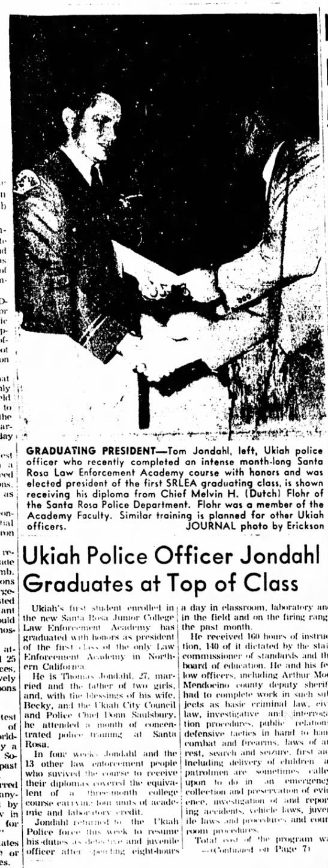 Thomas William Jondahl graduates at top of law enforcement academy class