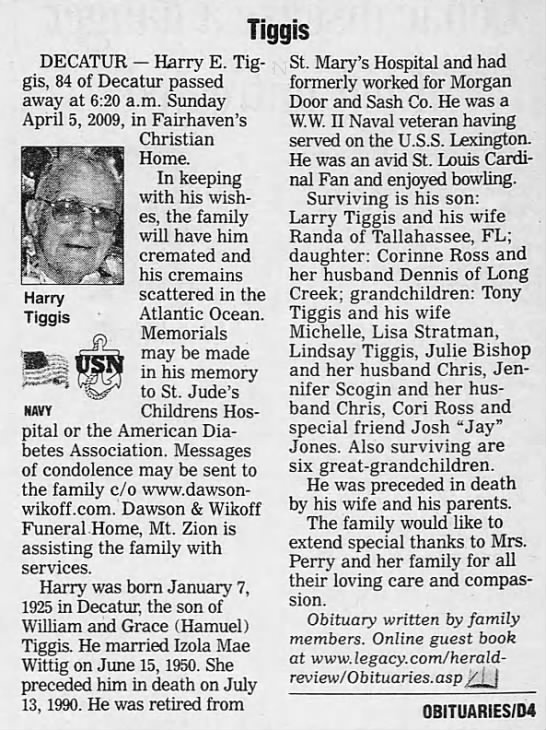 Harry E. Tiggis 2009 Obituary