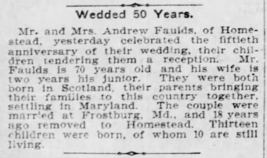 Andrew and Anna (Hunter) Faulds 50th wedding anniversary 23 Sep 1905