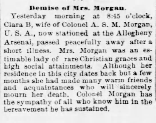 Obit-Morgan,Clara-15 Jul 1886