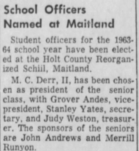 m.c. president  Sep 16 1963 pg 4 maryville Daily Forum