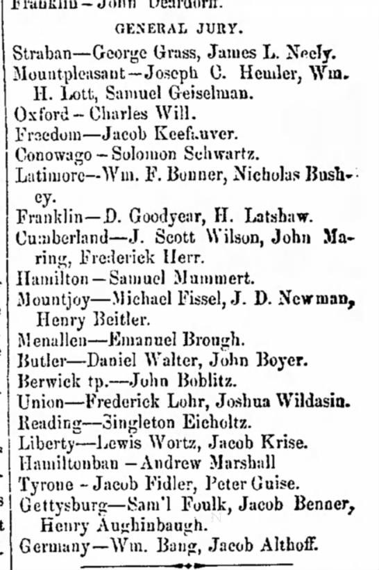 Daniel Walter, John Boyer of Butler on General Jury 3 Jan 1859