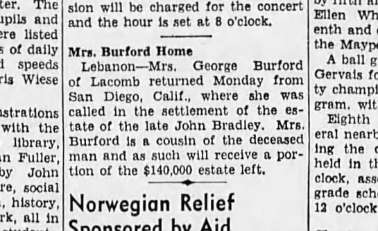 11 May 1940 Mrs. Burford is home from San Diego