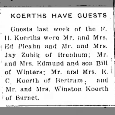 Mr. and Mrs. Jay Zubik of Brenham -- Guests of F.H. Koerths