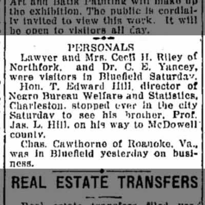 Aug 3, 1926  Bluefield Daily Telegraph Personals