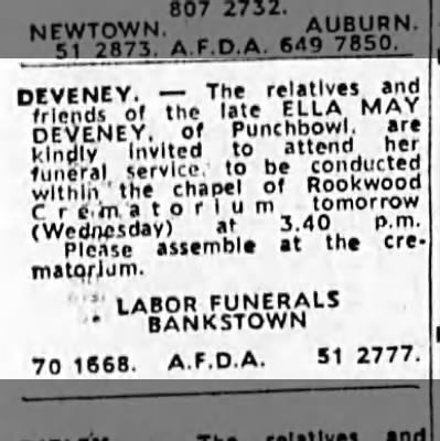 Funeral Ella May DEVENEY (SMITH) 1982
