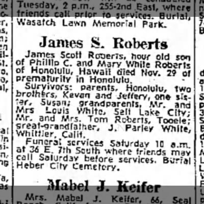 James S. Roberts obituary, 15 Dec 1963