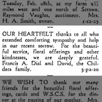 Thank you from Dial Family Emporia Gazette 20 Feb 1961