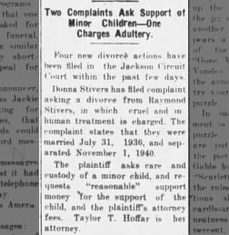 Donna Stivers files for divorce, The Tribune, Seymour, Indiana, 19 Feb 1941, pg 1