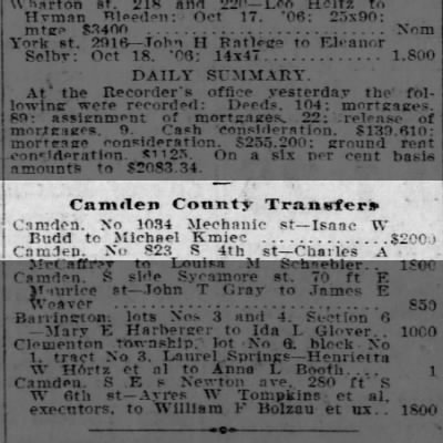 Kmiec property transfer 20 Oct 1906