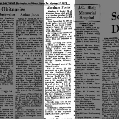 Abraham Foster obit-TDN-p.2-27 Oct 1975