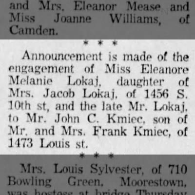 Kmiec Lokaj wedding 11 Jun 1955