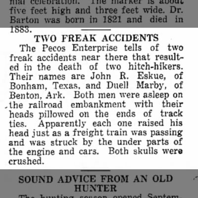 Two Freak Accidents