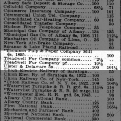 Treadwell Furrier Stock Prices 1894