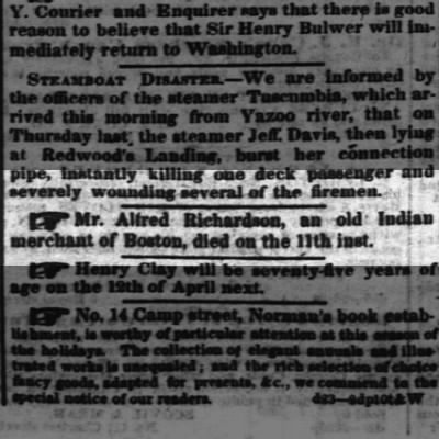 "Alfred Richards, ""old Indian Merchant"" died"