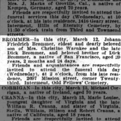 JF Brommer Obituary