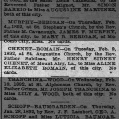Henry Sidney Chenet marriage announcement to Aline Romain