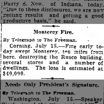 Rusco Building Monterey burned. The Kingston Daily Freeman 15 July 1918