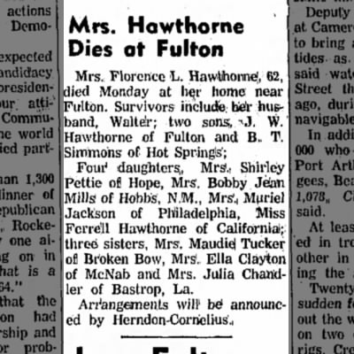 Hope Star 17 Sept 1963 p1 Florence L Hawthorne wife of Walter of Fulton died