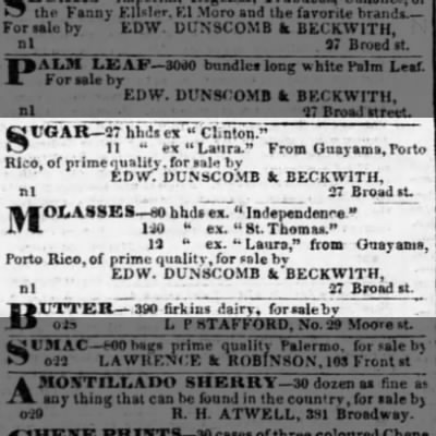 Guayama trade sugar sales in New York Nov 1841