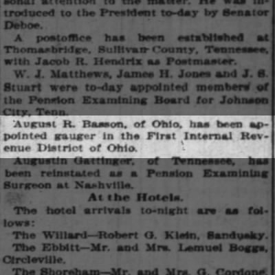 AR Basson appointed gauger in 1st Internal Revenue District of Ohio, 29 May 1897 Enquirer