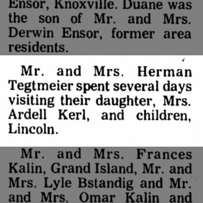 Kerl, Ardell Visit 17 Apr 1976 Beatrice Daily Sun