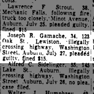 Joseph R Gamache plead guilty to illegally crossing the highway on 27 July 1972