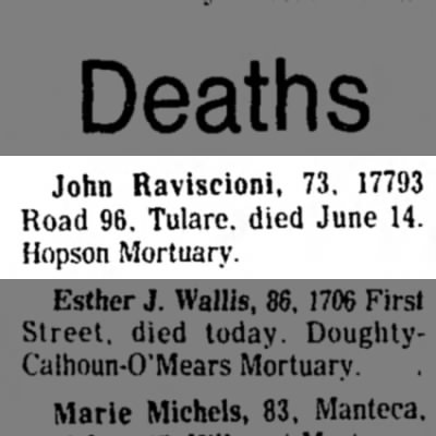 John Raviscioni death announcement in the Bakersfield Californian 17 Jun 1975