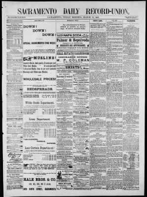 The Record-Union from Sacramento, California on March 24, 1882 · Page 1