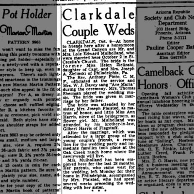 Lyle Edward Mulholland newspaper marriage annoucement
