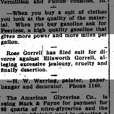 Rose Gorrell Files for Divorce from Ellsworth Gorrell - Iola Register 31 October 1919 page 3