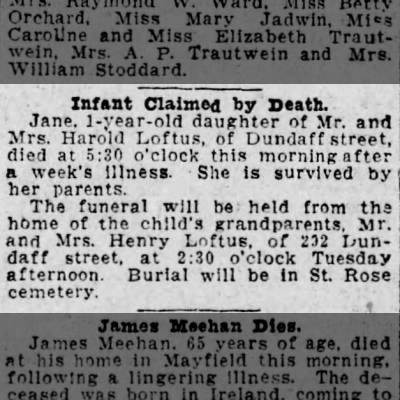 Jane Loftus Claimed by Death Scranton Republican Monday, September 29, 1924