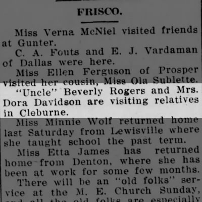 B. L. Rogers with daughter Dona visiting in Cleburne - McKinney Courier-Gazette - Jun. 8, 1912