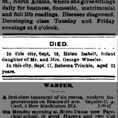 Obit of Rebecca Trimble        Sept 17, 1896