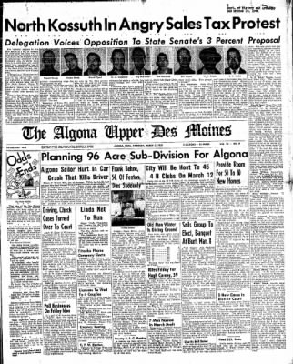 The Algona Upper Des Moines from Algona, Iowa on March 3, 1955 · Page 1