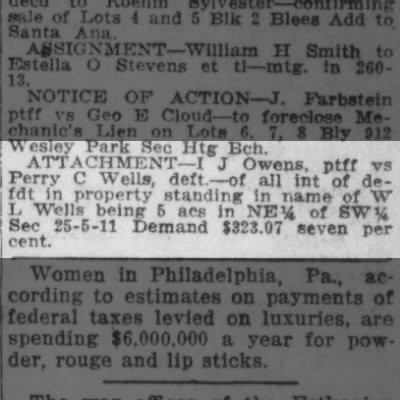Attachment of Perry Wells' property