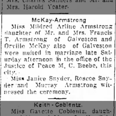 McKay Armstrong marriage Logansport Pharos-Tribune 6 Oct 1930