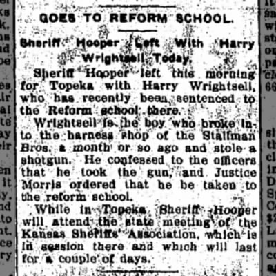 Goes to Reform School, The Hutchinson News, Hutchinson, Kansas, 9 July 1903, page 6.