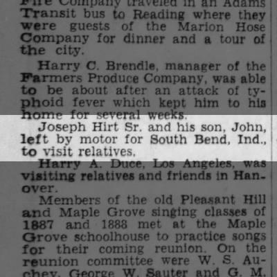 Joseph Hirt Sr & son John to South Bend Ind to visit relatives 1952