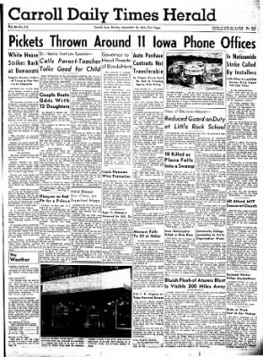 Carrol Daily Times Herald from Carroll, Iowa on September 16, 1957 · Page 1