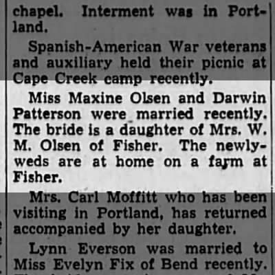 darwin patterson and maxine olsen marry 1941